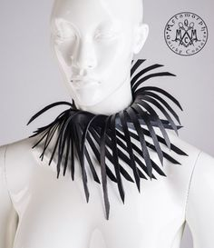 Rubber collar Cut black shredded upcycled rubber Sculptural 3d geometric jewelry choker Fringe collar Avant garde necklace eco fashion