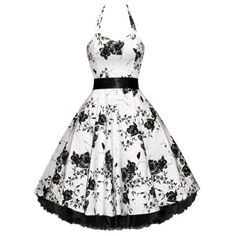 Noble Halter High Waist Floral Printed Pleated Ball Gown Dress For Women (WHITE AND BLACK,XL) in Vintage Dresses | DressLily.com