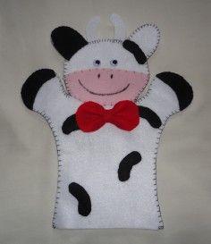 fantoche feltro vaca Felt Puppets, Felt Finger Puppets, Hand Puppets, Puppet Patterns, Felt Patterns, Stuffed Toys Patterns, Puppet Crafts, Felt Crafts, Diy Crafts