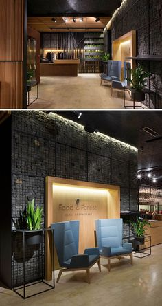 Food & Forest Restaurant by Ukraine-based YOD Design Lab… Restaurant Design, Restaurant Bar, Forest Restaurant, Cafe Interior Design, Cafe Design, Store Design, Design Lab, Design Ideas, Commercial Interior Design