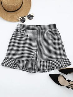 SHARE & Get it FREE   Ruffle Hem Checked Pocket Shorts - Checked MFor Fashion Lovers only:80,000  Items • New Arrivals Daily Join Zaful: Get YOUR $50 NOW!