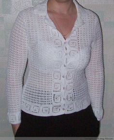 Jacket with Lace Trim free crochet graph pattern