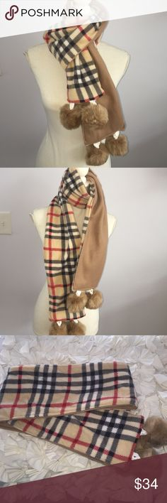 London Plaid Camel Fleece Pompom Scarf Brand new handmade Pink Alligator boutique fleece Pompom scarf made with soft London plaid and camel with large lush pompoms.  Perfect Fall accessory ❄️❄️ Accessories Scarves & Wraps