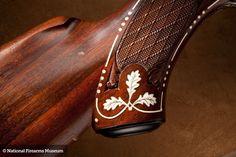 Merkel 1963 Shotgun. Ivory and mother of pearl inlay.