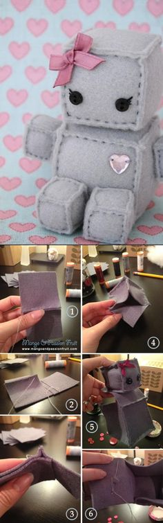 Robot Plush DIY Tutorial put velcro on sides make own toys Cute Diys, Cute Crafts, Crafts To Do, Felt Crafts, Fabric Crafts, Kids Crafts, Sewing Crafts, Sewing Projects, Craft Projects