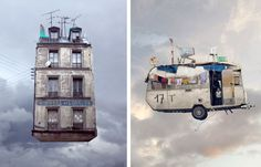 Flying Houses, by French photographer Laurent Chehere.