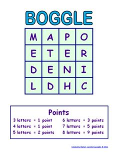 FREE Boggle Template - Make a New Game Every Time! Here is a terrific activity to use with the whole class when you have a few extra minutes, or individually for students who finish early (think standardized tests). Because this is a Word document, you can use the it again and again simply by changing the letters in the grid.