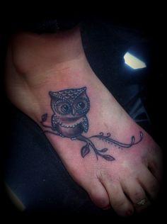 Cute Grey Owl Tattoo On Foot
