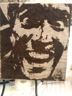 wood burning Bruce Campbell in Evil Dead Close up. Pyrography on drift wood Pyrography Art, Global Art, Film Images, Moose Art, Image, Art, Evil