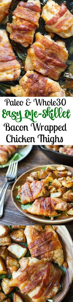 Paleo and whole30 easy one skillet bacon wrapped chicken that's great for a weeknight dinner since it's ready in 20 minutes!