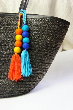 Your place to buy and sell all things handmade Pom Pom Crafts, Yarn Crafts, Diy Crafts, Pom Pom Bag Charm, Diy Keychain, Keychains, Crafts For Teens To Make, Handmade Handbags, Felt Ball