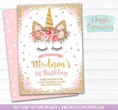 Printable Pink and Gold Glitter Unicorn Face Birthday Invitation | Blush Pink and Lavender Floral Invitation | Magical Girls 1st Birthday | Horse Party | Favor Tags | Cupcake Toppers | Food Labels | Signs | Banner | DIY Party Package Decor