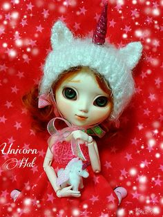 Unicorn hat, handmade by me ☺ http://www.facebook.com/pages/%C3%96-DOLLS/135472366619726?ref=hl