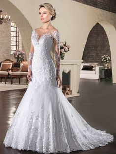 Custom Made Mermaid Long Sleeve Lace Beading Sexy Gorgeous Formal Long Bride  Vestido de Noiva Wedding Dresses Real Photos -- AliExpress Affiliate s Pin. f00bc131cf83