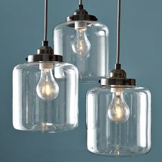 Staggered pendant lighting option for powder bath option #1 | 3-Jar Glass Chandelier | west elm