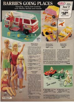 Malibu Barbie and Friends, Barbie's Volkswagen Camper, Going Camping Set and Mercedes Sports Car from the Sears Christmas Catalog, 1970's