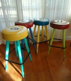 Billiard pool ball inspired bar stools. Perfect for game room!