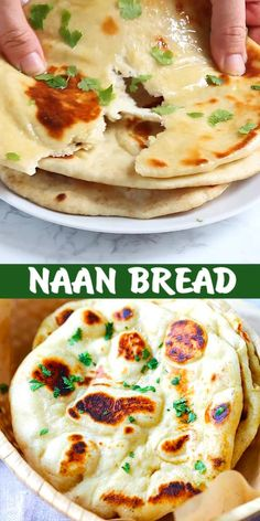 Naan - easy homemade naan recipe using a cast-iron skillet. Soft, puffy, with beautiful brown blisters just like Indian restaurants. Making naan is easy with this step-by-step recipe and video Recipes With Naan Bread, Sourdough Naan Bread Recipe, Naan Bread Recipe No Yogurt, Indian Naan Bread Recipe, Make Naan Bread, Homemade Naan Bread, Flatbread Recipes, Pita Bread, Healthy Vegetarian Recipes