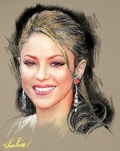 Shahin Gholizadeh   Iranian Digital pastel painter   Shakira 1977