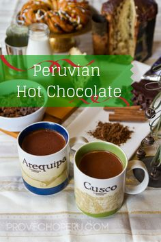 Peruvian hot chocolate is made rich by the blend of three different types of milk, made chocolatey with Latin chocolate and cocoa powder. Peruvian Drinks, Peruvian Desserts, Peruvian Dishes, Peruvian Cuisine, Peruvian Recipes, Yummy Drinks, Yummy Food, Yummy Treats, Yummy Recipes