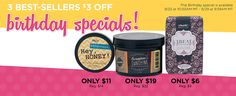 Birthday specials! Contact me for free shipping if local or reduced if out of town! Don't miss these specials! Great for gifts! perfectlyposh.com/poshbydiane