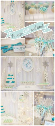 What a lovely Winter Wonderland party in white, silver, and mint! See more party ideas at CatchMyParty.com!