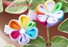 Rainbow Kanzashi Flower