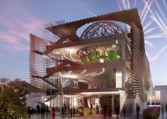 Wavy timber louvers will flank Azerbaijan's pavilion for next year's World Expo in Milan.