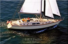 Aerial photo of an Island Packet 485 under full sail.