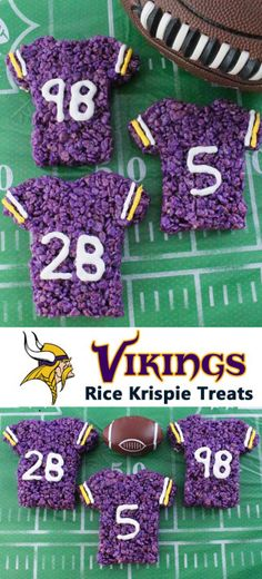 These Minnesota Vikings Rice Krispie Treats Team Jerseys are a fun football dessert for a game day football party, an NFL playoff party, a Super Bowl party or as a special snack for the Minnesota Vikings' fans in your life. Go Vikings! And follow us for more fun Super Bowl Food Ideas.