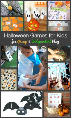 Halloween Games for Kids: Activities for your next classroom Halloween party! Can be played independently or in groups! Pumpkin bowling, bingo, memory, bat counting, and more! Preschool Halloween Party, Halloween Games For Kids, Halloween Class Party, Halloween Birthday, Halloween Activities, Holidays Halloween, Halloween Themes, Halloween Crafts, Halloween Stuff