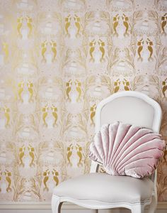 This mermaids shell pink wallpaper pattern is hand screen printed in Chicago on coated and paper manufactured in the USA. Our high-quality, designer wallpaper is extremely durable. Pink Wallpaper Design, Of Wallpaper, Beautiful Wallpaper, Designer Wallpaper, Mermaid Shell, Mermaid Room, Mermaid Salon, Mermaid Wallpapers, Do It Yourself Home