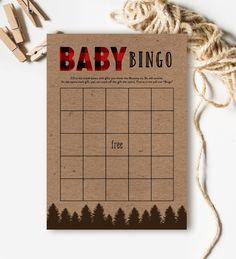 Baby Shower Game Bingo Country Rustic Outdoor Bear Lumberjack   Instant Download Printable