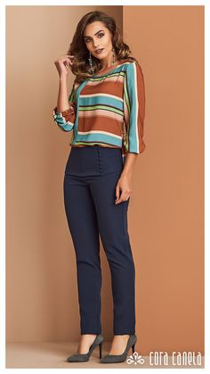 Classy Work Outfits, Work Casual, Casual Chic, Stylish Outfits, Fashion Outfits, Trousers Women Outfit, Stylish Tops For Women, Corporate Attire, Stripes Fashion