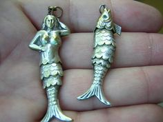 Antique Vintage Victorian Silver Articulated Mermaid Fish Pendant Watch Fobs | eBay