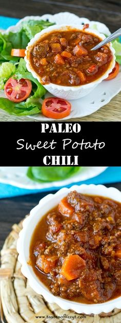 Paleo Sweet Potato Chili >> by Tastes of Lizzy T's