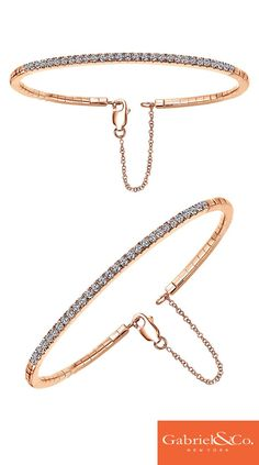 A beautiful diamond bracelet to go with your gorgeous wedding gown. This Gabriel & Co. 14k rose gold diamond bangle is the delicate piece you need for your fall wedding. Find this bracelet on our website.