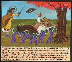 Хасинто Переса, который пил в тени дерева, схватили марсиане и потащили в свой корабль. Он сильно испугался и принялся молить Святую Барбару о помощи. И случилось удивительное чудо: сама святая явилась и набросилась на инопланетян с мечом. Марсиане побежали на свой корабль, бросив Хасинто. За что он и благодарит.