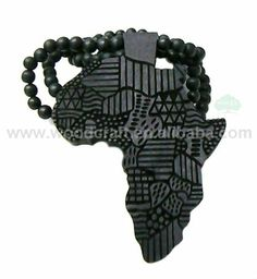 Black wooden africa pendant with multi colored 28 inch beaded women fashion black wood necklace of african map wooden beads chain fast shippingchina aloadofball Image collections