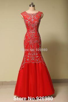 Find More Evening Dresses Information about Cap Sleeve Dress Party Evening Elegant Crystal Mermaid Evening Dresses Red Long Prom Gown Modest Free Shipping,High Quality gown dress,China gown evening dress Suppliers, Cheap gown prom from Anny Wang's store on Aliexpress.com