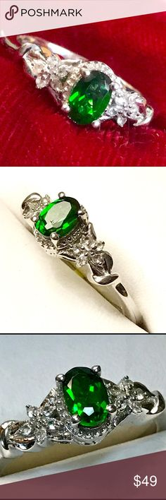 ❤️NEW ITEM❤️Siberian Emerald Platinum Ring Sz7! Siberian Emerald aka Russian Diopside w/ Cambodian Zircon in Platinum over Sterling Silver Ring Size 7. As with much of our jewelry collection, these stunning, deep sea green emeralds are no longer being mined; they're rare, and no wonder they were in such high demand. Mystically beautiful. Comes with a gift box! ❤️🎁❤️ Jewelry Rings