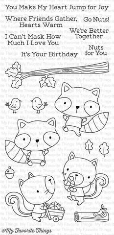 "MFT STAMPS: Harvest Buddies (4"" x 8.5"" Clear Photopolymer Stamp Set) This package includes Harvest Buddies, a 18 piece set including: - Raccoons (2) 1 7/8"" x 1 5/8"", 1 7/8"" x 1 3/4"" - Squirrels (2) 2"