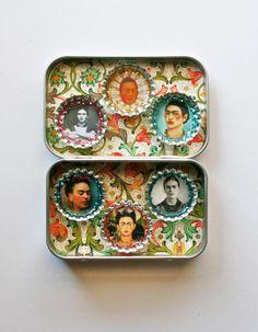 Frida Kahlo Magnet Set - Gifts under 15 - Mexican Folk Art. Inspiration till något att ge bort..