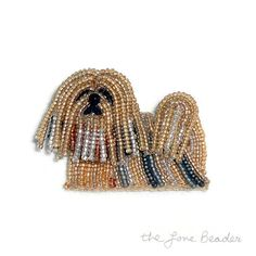 READY to SHIP! One beautiful bead-embroidered Lhasa Apso pin/ pendant! This cute little dog was created by stitching tiny glass seed beads to felt