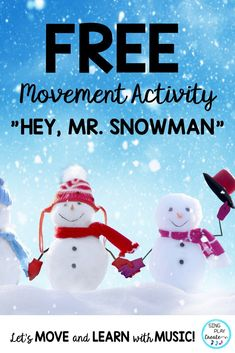 "This winter let's get kids moving and learning with music activities in every classroom! Snowman"" is a movement activity song for Preschool through grade classrooms. Preschool Music Activities, Music Education Activities, Movement Activities, Kindergarten Music, Winter Activities, Elementary Choir, Elementary Education, Snowman Songs, Action Songs"