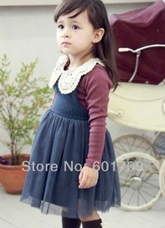 Fashion Winter lace gauze girls suits long sleeve t-shirt and dress children clothing sets baby outfits kids wear 2color 5sets