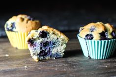 """Blueberry """"Corn"""" Muffins - blanched almond flour, coconut flour, salt, baking soda, eggs, oil/butter/ghee, honey/maple syrup (sub another sweetener), coconut/other dairy-free milk/yogurt, fresh blueberries"""