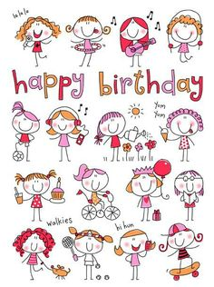 58 Super Ideas For Birthday Drawing Doodles Happy Happy Birthday Quotes, Birthday Messages, Happy Birthday Wishes, Birthday Images, Birthday Greetings, Happy Birthday Little Girl, Doodle Art, Doodle Drawings, Easy Drawings
