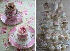I love the idea of using miss-matched teacups to hold cupcakes! vintage tea cup cupcakes