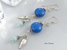 Blue Earrings Charm Earrings Statement by TheLittleEmptyNest